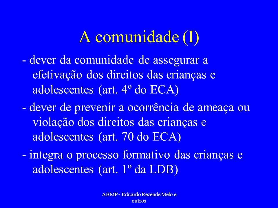 A comunidade (I) - dever da comunidade de assegurar a efetivação dos direitos das crianças e adolescentes (art. 4º do ECA) - dever de prevenir a ocorr