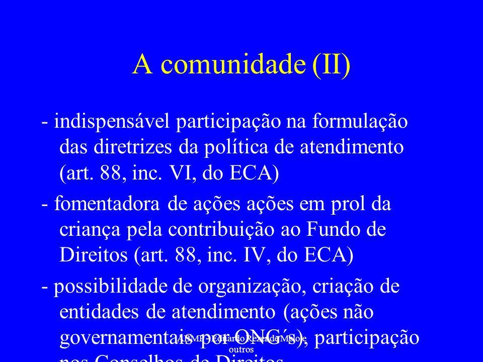 A comunidade (II) - indispensável participação na formulação das diretrizes da política de atendimento (art. 88, inc. VI, do ECA) - fomentadora de açõ