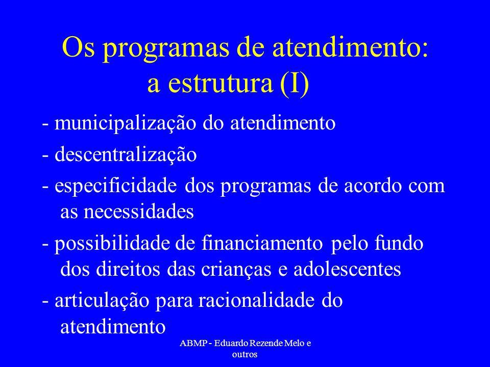 Os programas de atendimento: a estrutura (I) - municipalização do atendimento - descentralização - especificidade dos programas de acordo com as neces