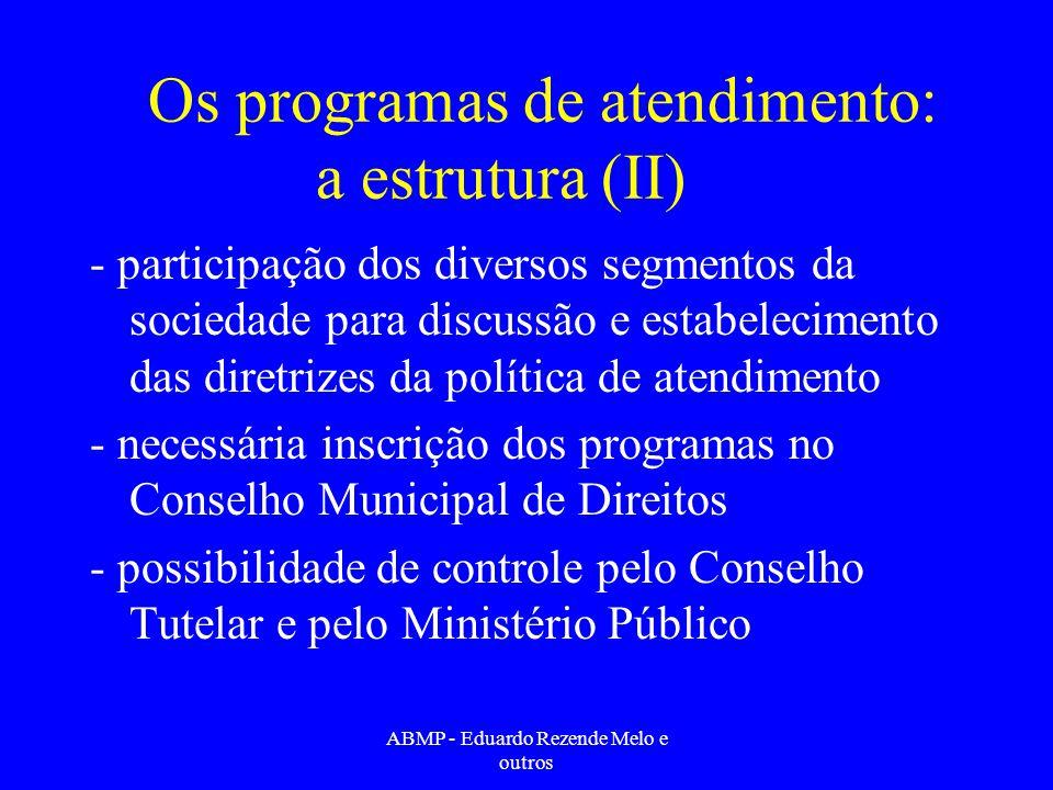 Os programas de atendimento: a estrutura (II) - participação dos diversos segmentos da sociedade para discussão e estabelecimento das diretrizes da po