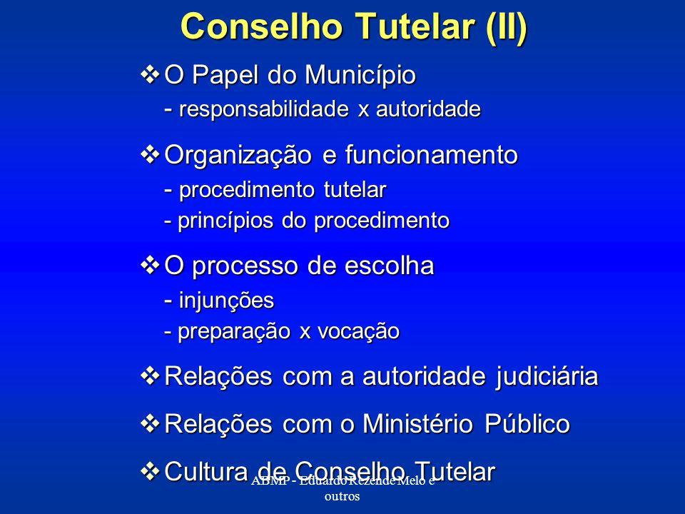 Conselho Tutelar (II) O Papel do Município O Papel do Município - responsabilidade x autoridade Organização e funcionamento Organização e funcionament