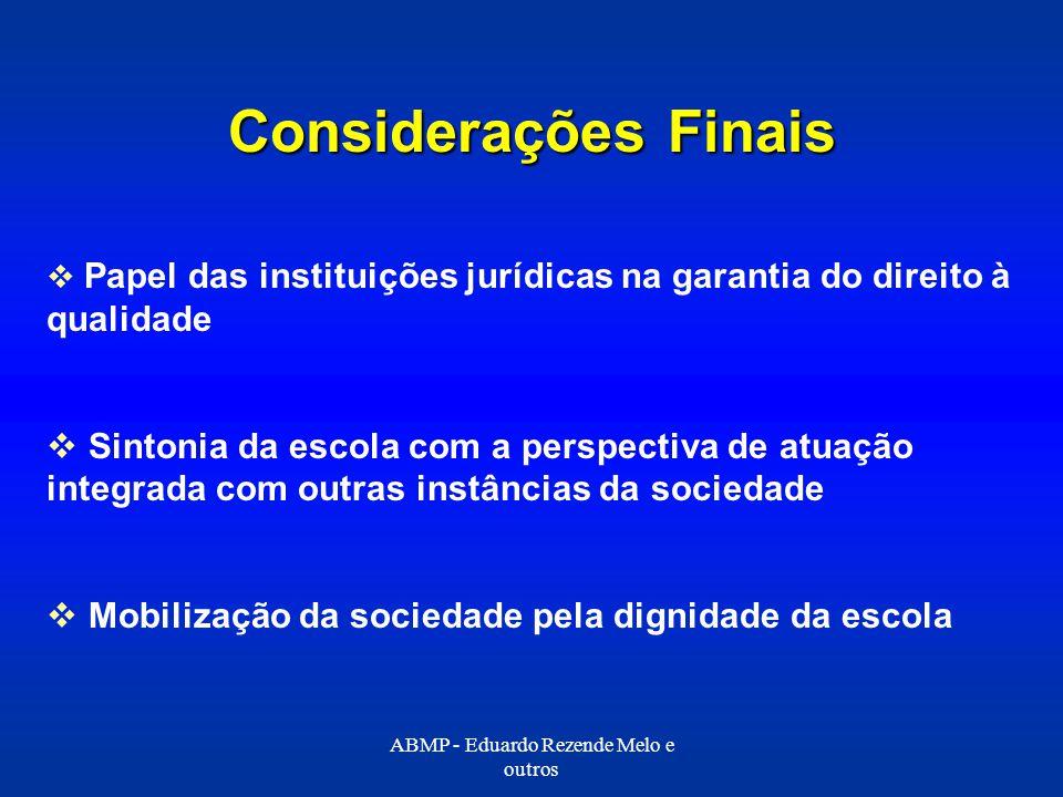 Considerações Finais Papel das instituições jurídicas na garantia do direito à qualidade Sintonia da escola com a perspectiva de atuação integrada com