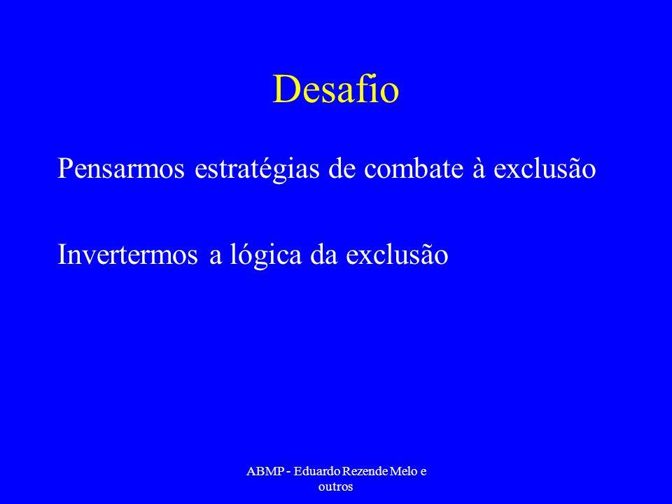 Desafio Pensarmos estratégias de combate à exclusão Invertermos a lógica da exclusão ABMP - Eduardo Rezende Melo e outros