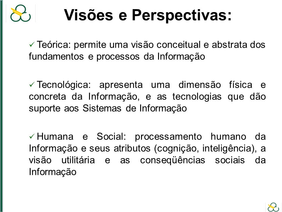 Visões e Perspectivas: Teórica: permite uma visão conceitual e abstrata dos fundamentos e processos da Informação Tecnológica: apresenta uma dimensão física e concreta da Informação, e as tecnologias que dão suporte aos Sistemas de Informação Humana e Social: processamento humano da Informação e seus atributos (cognição, inteligência), a visão utilitária e as conseqüências sociais da Informação