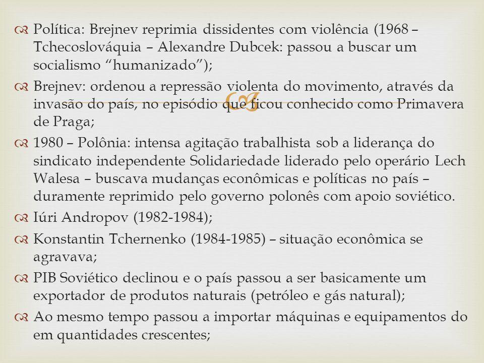 Política: Brejnev reprimia dissidentes com violência (1968 – Tchecoslováquia – Alexandre Dubcek: passou a buscar um socialismo humanizado); Brejnev: o