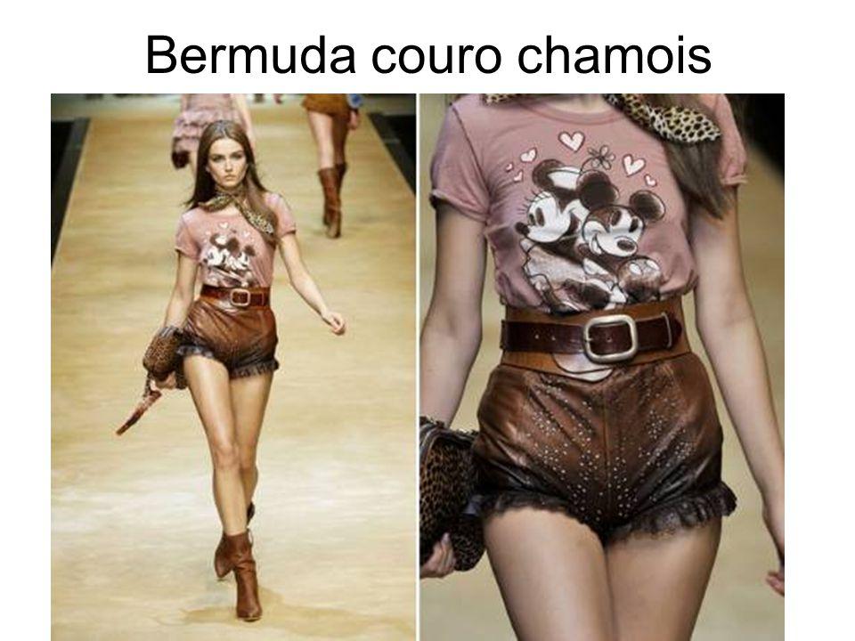 Bermuda couro chamois
