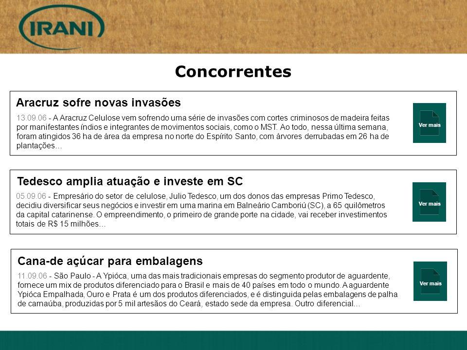Ver mais Aracruz sofre novas invasões 13.09.06 - A Aracruz Celulose vem sofrendo uma série de invasões com cortes criminosos de madeira feitas por man