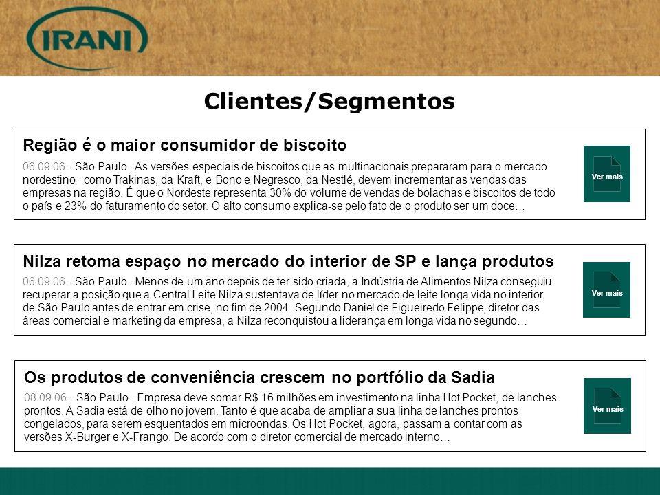 Ver mais Clientes/Segmentos Região é o maior consumidor de biscoito 06.09.06 - São Paulo - As versões especiais de biscoitos que as multinacionais pre