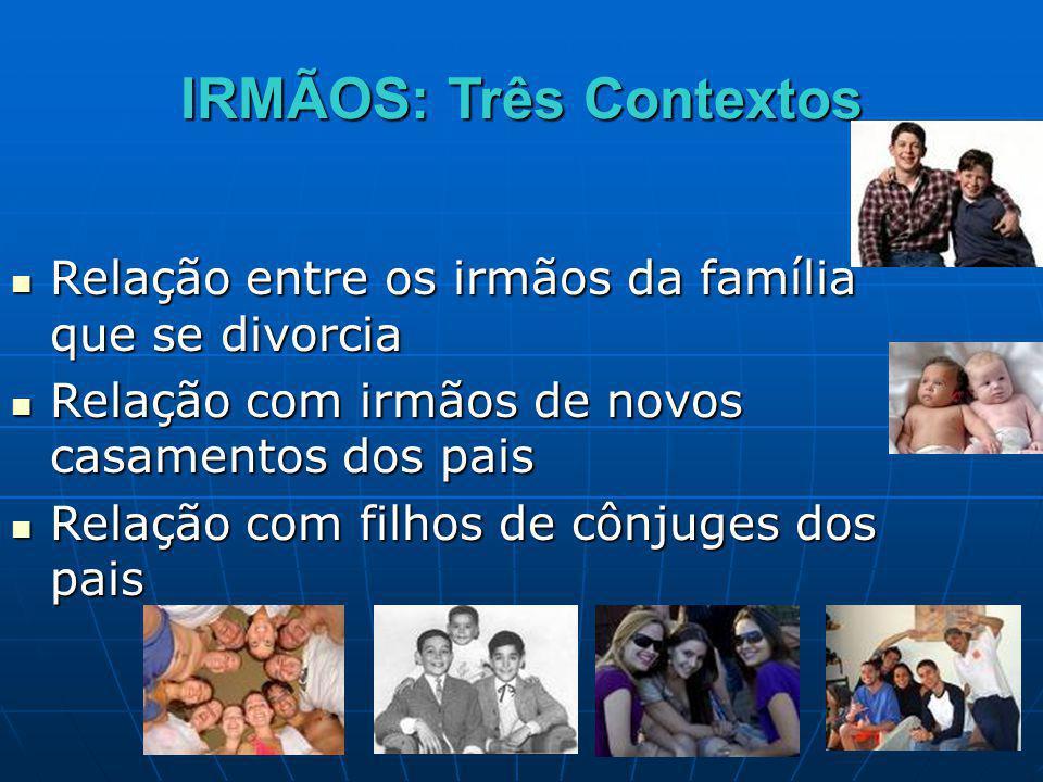 IRMÃOS: Três Contextos Relação entre os irmãos da família que se divorcia Relação entre os irmãos da família que se divorcia Relação com irmãos de nov