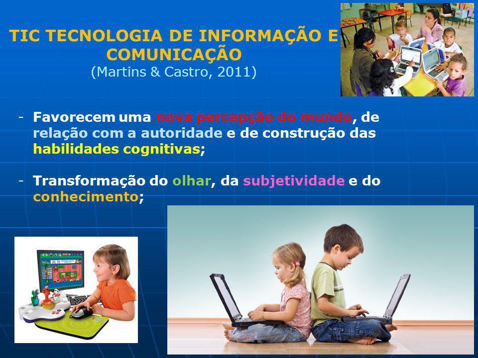 TIC TECNOLOGIA DE INFORMAÇÃO E COMUNICAÇÃO (Martins & Castro, 2011) -Favorecem uma nova percepção do mundo, de relação com a autoridade e de construçã