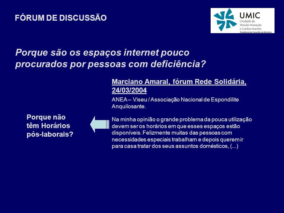 Marciano Amaral, fórum Rede Solidária, 24/03/2004 ANEA – Viseu / Associação Nacional de Espondilite Anquilosante. Na minha opinião o grande problema d
