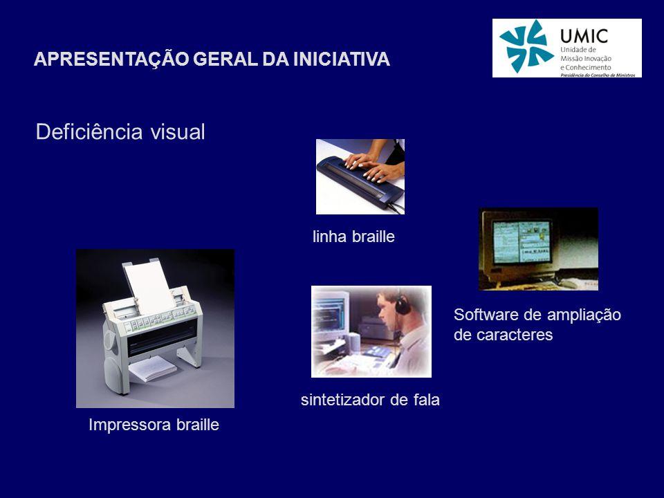 APRESENTAÇÃO GERAL DA INICIATIVA Impressora braille linha braille sintetizador de fala Software de ampliação de caracteres Deficiência visual