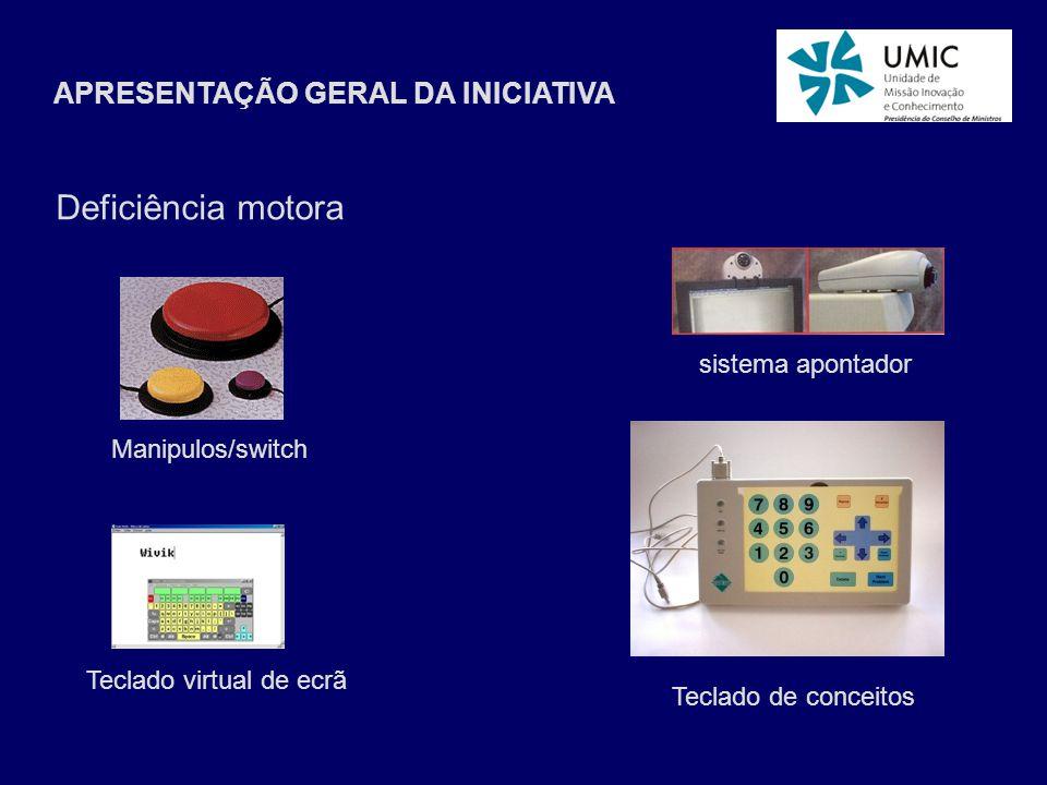 APRESENTAÇÃO GERAL DA INICIATIVA Deficiência motora Teclado virtual de ecrã Teclado de conceitos Manipulos/switch sistema apontador