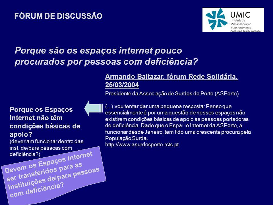 Armando Baltazar, fórum Rede Solidária, 25/03/2004 Presidente da Associação de Surdos do Porto (ASPorto) (...) vou tentar dar uma pequena resposta: Penso que essencialmente é por uma questão de nesses espaços não existirem condições básicas de apoio às pessoas portadoras de deficiência.
