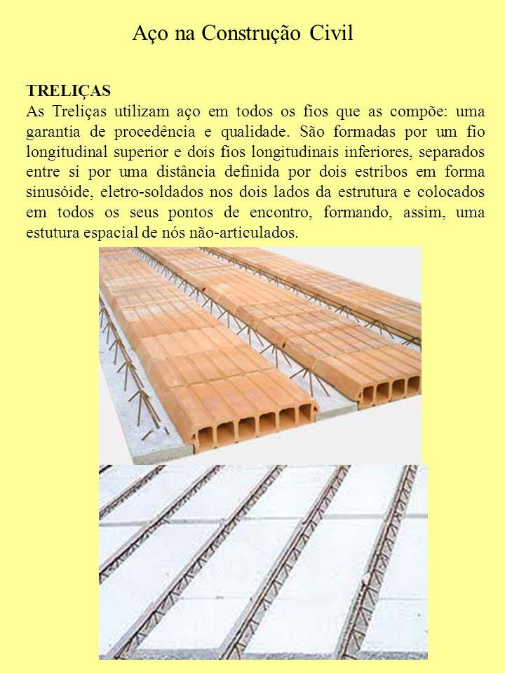 Aço na Construção Civil TRELIÇAS As Treliças utilizam aço em todos os fios que as compõe: uma garantia de procedência e qualidade. São formadas por um