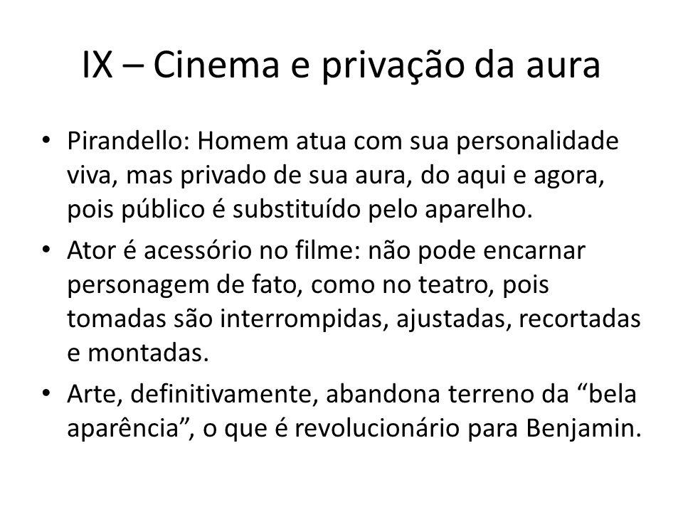 IX – Cinema e privação da aura Pirandello: Homem atua com sua personalidade viva, mas privado de sua aura, do aqui e agora, pois público é substituído pelo aparelho.