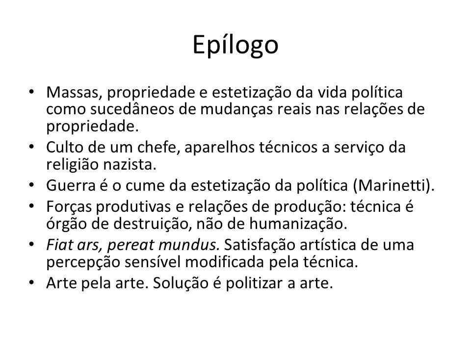 Epílogo Massas, propriedade e estetização da vida política como sucedâneos de mudanças reais nas relações de propriedade.