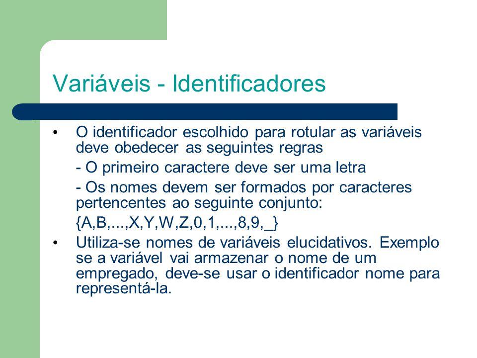 Variáveis - Identificadores O identificador escolhido para rotular as variáveis deve obedecer as seguintes regras - O primeiro caractere deve ser uma letra - Os nomes devem ser formados por caracteres pertencentes ao seguinte conjunto: {A,B,...,X,Y,W,Z,0,1,...,8,9,_} Utiliza-se nomes de variáveis elucidativos.
