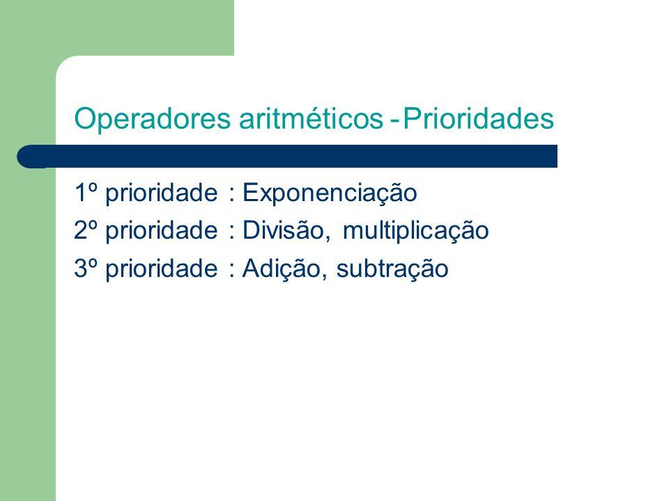 Operadores aritméticos -Prioridades 1º prioridade : Exponenciação 2º prioridade : Divisão, multiplicação 3º prioridade : Adição, subtração