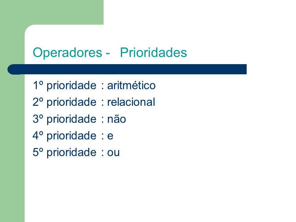 Operadores -Prioridades 1º prioridade : aritmético 2º prioridade : relacional 3º prioridade : não 4º prioridade : e 5º prioridade : ou