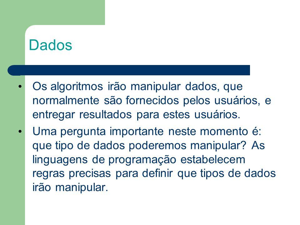 Dados Os algoritmos irão manipular dados, que normalmente são fornecidos pelos usuários, e entregar resultados para estes usuários.