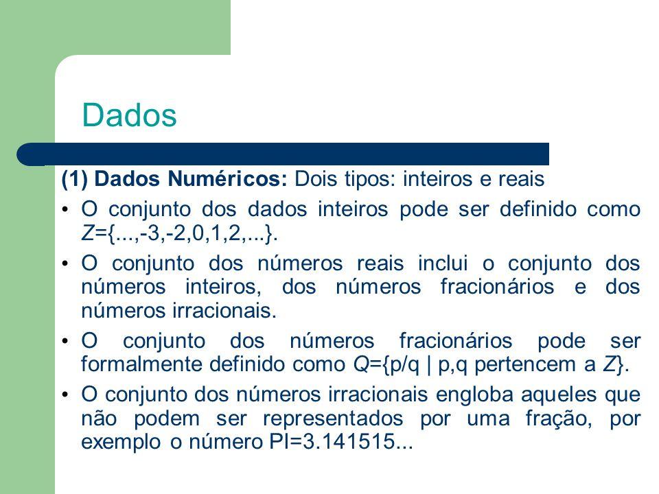 Dados (1) Dados Numéricos: Dois tipos: inteiros e reais O conjunto dos dados inteiros pode ser definido como Z={...,-3,-2,0,1,2,...}.