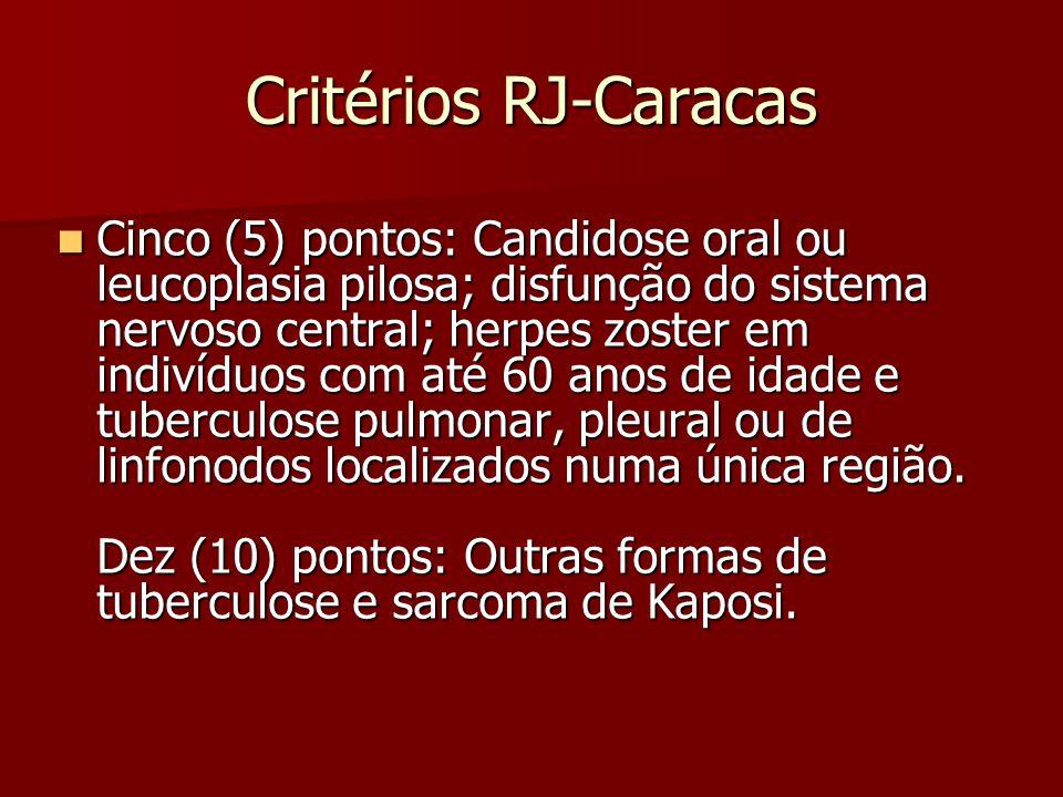 Critérios RJ-Caracas Cinco (5) pontos: Candidose oral ou leucoplasia pilosa; disfunção do sistema nervoso central; herpes zoster em indivíduos com até
