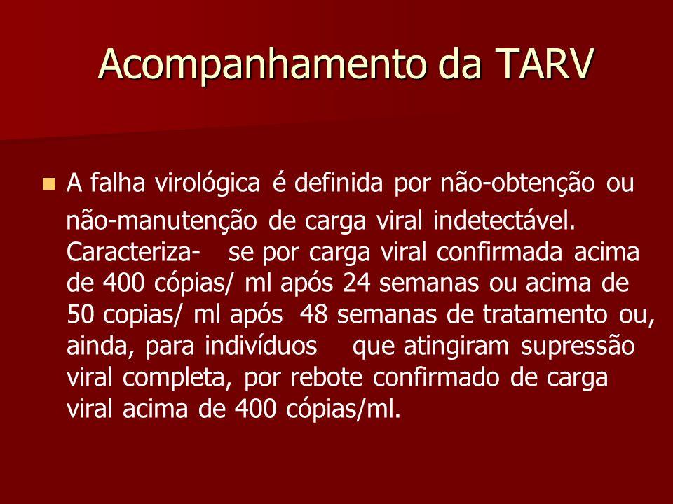 Acompanhamento da TARV A falha virológica é definida por não-obtenção ou não-manutenção de carga viral indetectável. Caracteriza- se por carga viral c