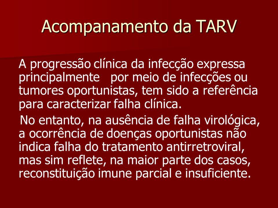 Acompanamento da TARV A progressão clínica da infecção expressa principalmente por meio de infecções ou tumores oportunistas, tem sido a referência pa