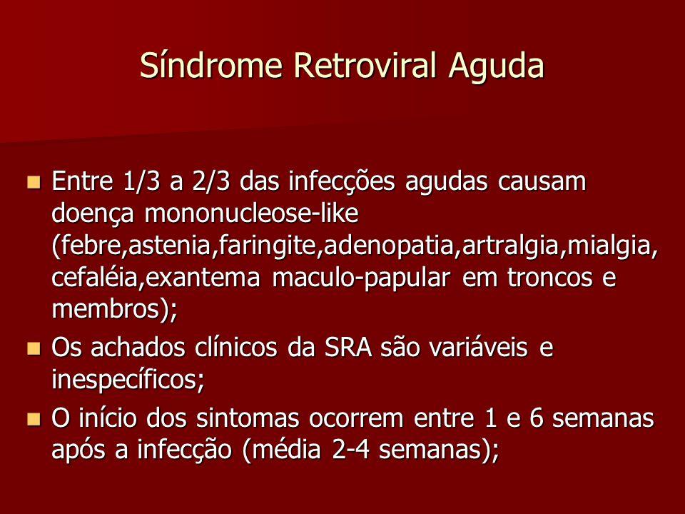 Síndrome Retroviral Aguda Entre 1/3 a 2/3 das infecções agudas causam doença mononucleose-like (febre,astenia,faringite,adenopatia,artralgia,mialgia,