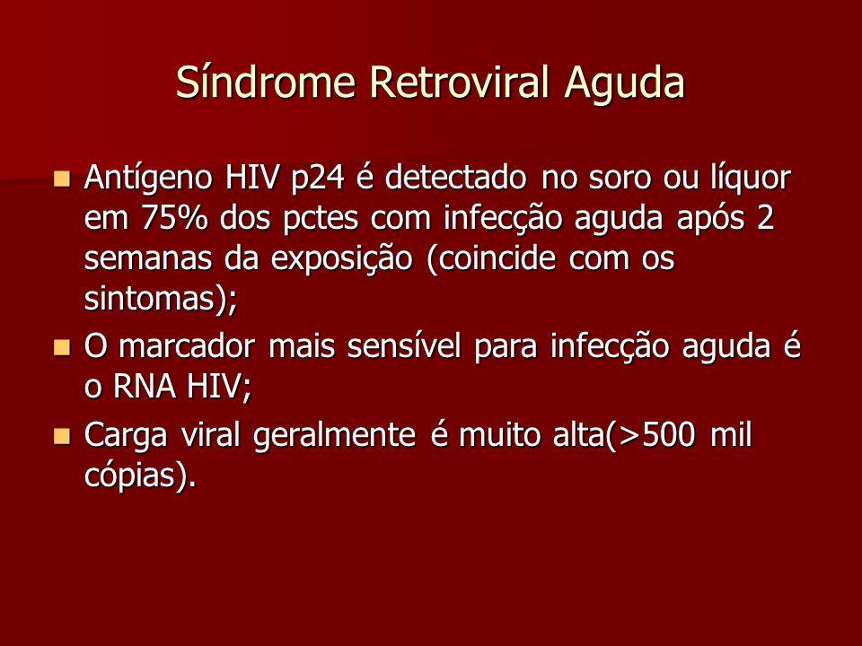 Síndrome Retroviral Aguda Antígeno HIV p24 é detectado no soro ou líquor em 75% dos pctes com infecção aguda após 2 semanas da exposição (coincide com