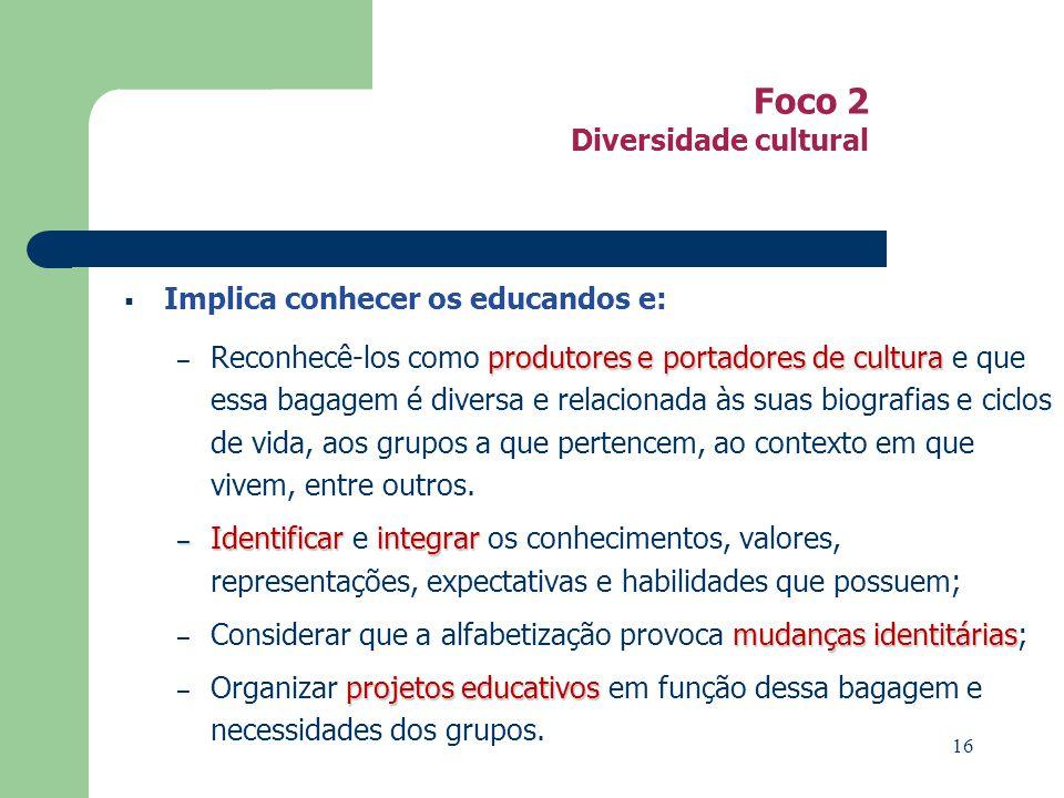Foco 2 Diversidade cultural Implica conhecer os educandos e: produtores eportadores de cultura – Reconhecê-los como produtores e portadores de cultura