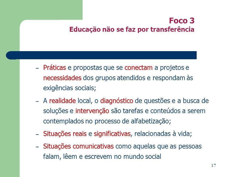 Foco 3 Educação não se faz por transferência – Práticasconectam necessidades – Práticas e propostas que se conectam a projetos e necessidades dos grup