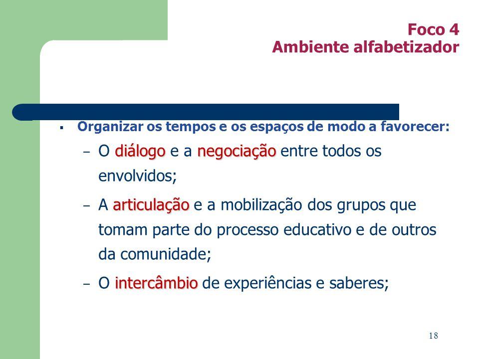 Foco 4 Ambiente alfabetizador Organizar os tempos e os espaços de modo a favorecer: diálogonegociação – O diálogo e a negociação entre todos os envolv