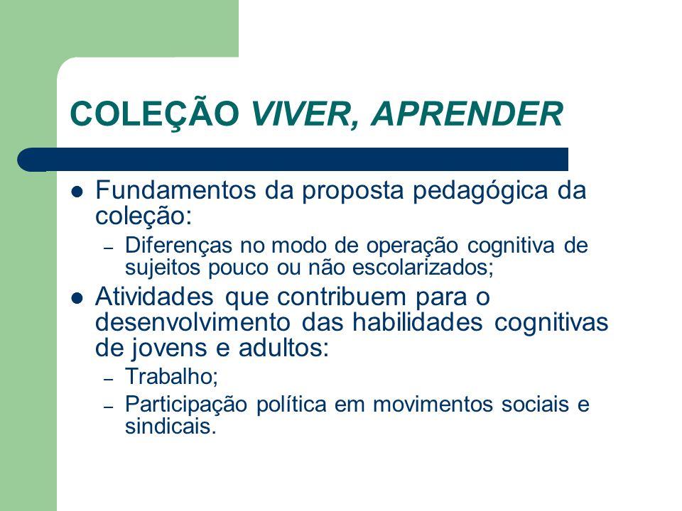 COLEÇÃO VIVER, APRENDER Fundamentos da proposta pedagógica da coleção: – Diferenças no modo de operação cognitiva de sujeitos pouco ou não escolarizad