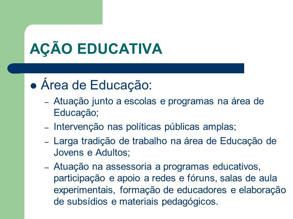 AÇÃO EDUCATIVA Área de Educação: – Atuação junto a escolas e programas na área de Educação; – Intervenção nas políticas públicas amplas; – Larga tradi