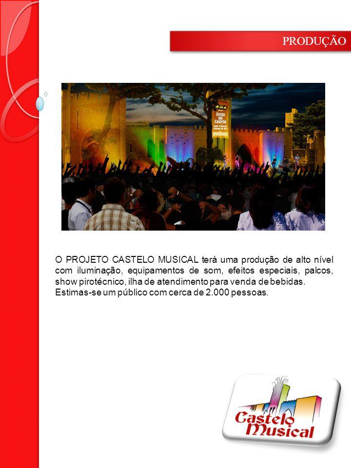 O PROJETO CASTELO MUSICAL terá uma produção de alto nível com iluminação, equipamentos de som, efeitos especiais, palcos, show pirotécnico, ilha de atendimento para venda de bebidas.