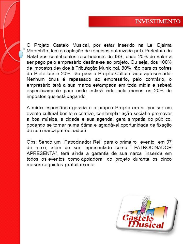 O Projeto Castelo Musical, por estar inserido na Lei Djalma Maranhão, tem a captação de recursos autorizada pela Prefeitura do Natal aos contribuintes recolhedores de ISS, onde 20% do valor a ser pago pelo empresário destina-se ao projeto.