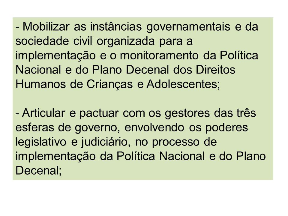 - Mobilizar as instâncias governamentais e da sociedade civil organizada para a implementação e o monitoramento da Política Nacional e do Plano Decena