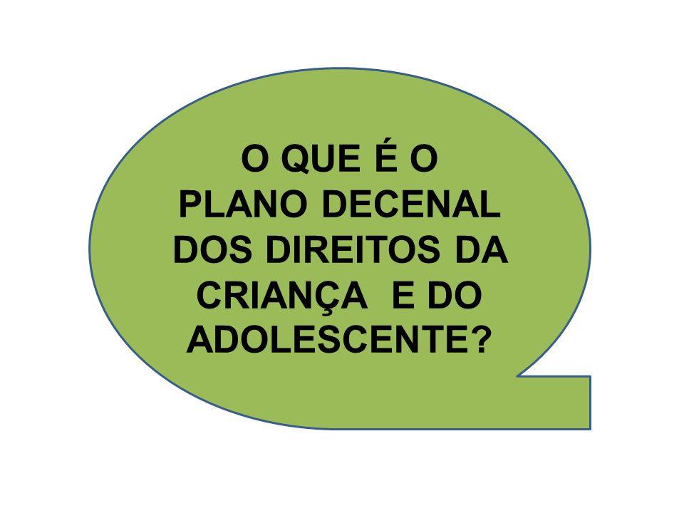 O QUE É O PLANO DECENAL DOS DIREITOS DA CRIANÇA E DO ADOLESCENTE?