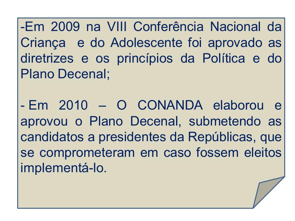 -Em 2009 na VIII Conferência Nacional da Criança e do Adolescente foi aprovado as diretrizes e os princípios da Política e do Plano Decenal; - Em 2010