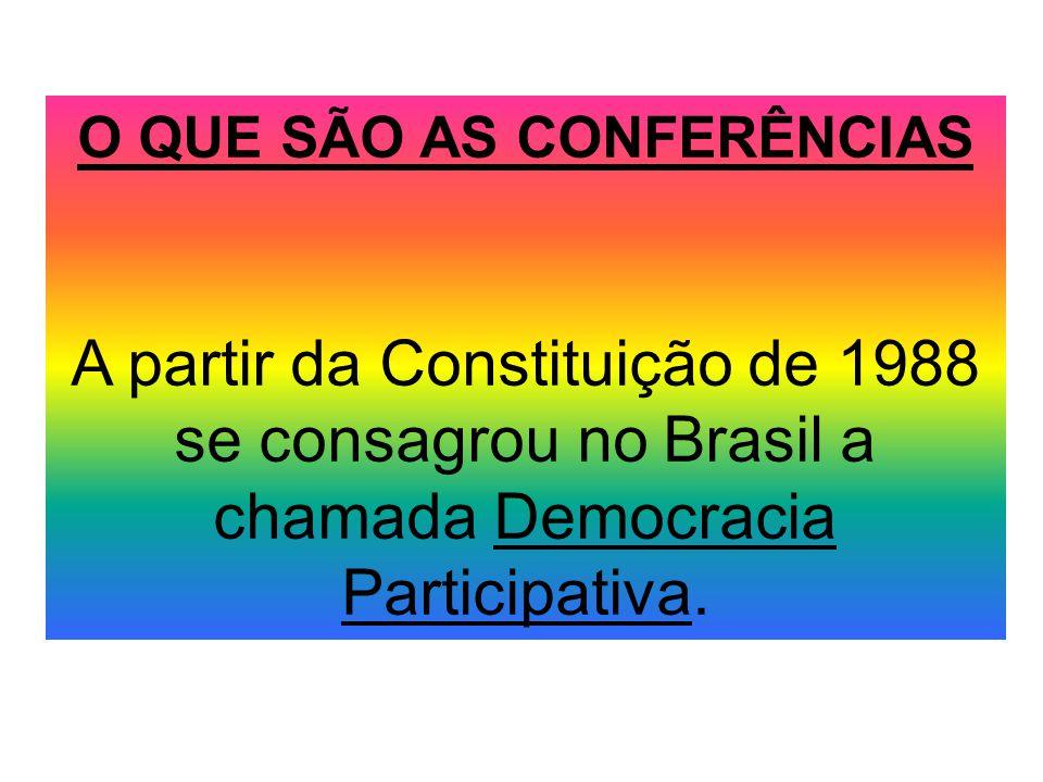 O QUE SÃO AS CONFERÊNCIAS A partir da Constituição de 1988 se consagrou no Brasil a chamada Democracia Participativa.