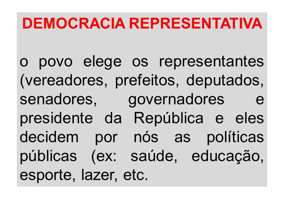DEMOCRACIA REPRESENTATIVA o povo elege os representantes (vereadores, prefeitos, deputados, senadores, governadores e presidente da República e eles d