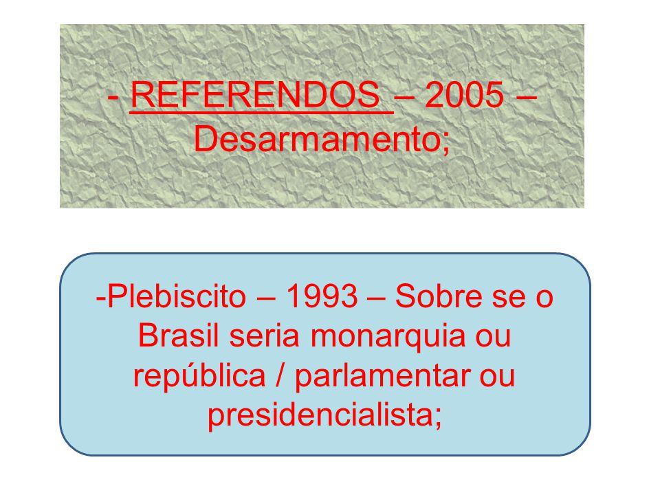Projeto de Iniciativa Popular Proposta de projeto de lei assinado por 1/3 do eleitorado nacional = Ex.