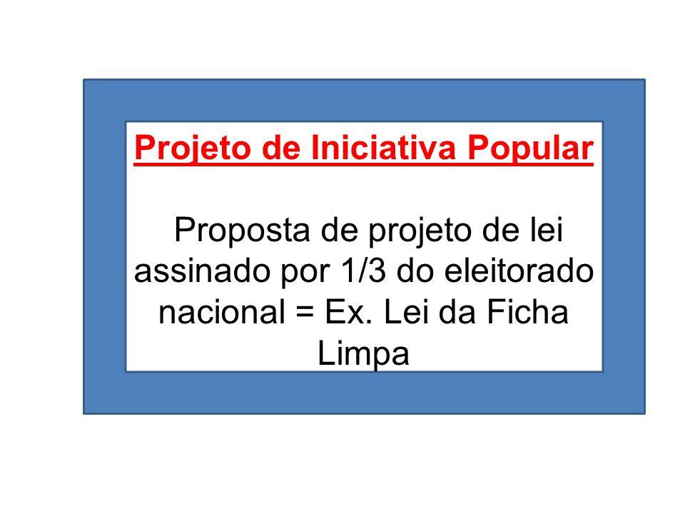 Projeto de Iniciativa Popular Proposta de projeto de lei assinado por 1/3 do eleitorado nacional = Ex. Lei da Ficha Limpa