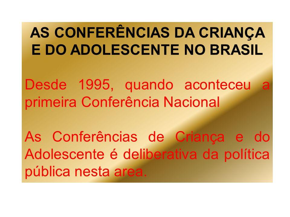 AS CONFERÊNCIAS DA CRIANÇA E DO ADOLESCENTE NO BRASIL Desde 1995, quando aconteceu a primeira Conferência Nacional As Conferências de Criança e do Ado