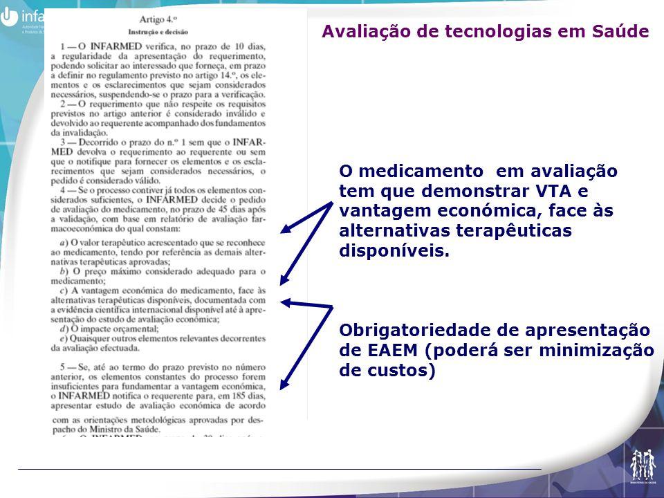 O medicamento em avaliação tem que demonstrar VTA e vantagem económica, face às alternativas terapêuticas disponíveis. Obrigatoriedade de apresentação