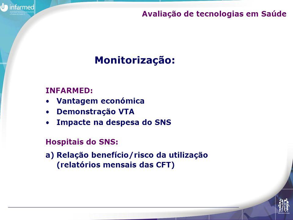 INFARMED: Vantagem económica Demonstração VTA Impacte na despesa do SNS Hospitais do SNS: a)Relação benefício/risco da utilização (relatórios mensais