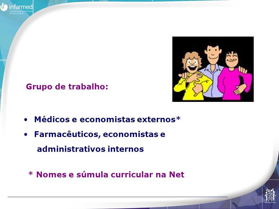 Médicos e economistas externos* Farmacêuticos, economistas e administrativos internos Grupo de trabalho: * Nomes e súmula curricular na Net