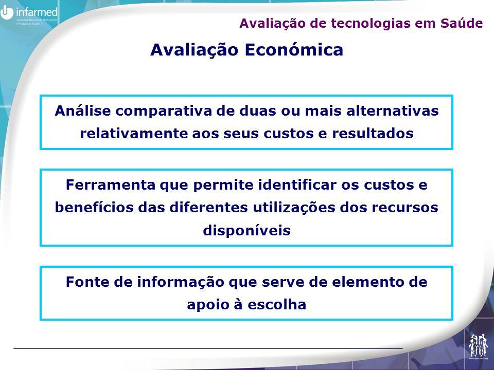 Avaliação Económica Análise comparativa de duas ou mais alternativas relativamente aos seus custos e resultados Ferramenta que permite identificar os